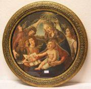 """Kunstdruck: """"Maria nit Kind und fünf Engeln"""". Nach Botticelli. Durchmesser: 57cm,"""