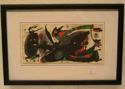 """Miró: """"Moderne Komposition"""". Farblithographie, in der Platte signiert, 20 x 39cm. Rahmen"""