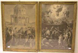 """""""Religiöse Szenen"""". Zwei Blatt Kupferstiche, je 55 x 39cm. Rahmen mit Glas."""