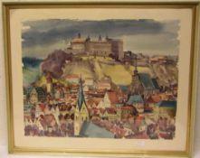 "Kulmbach: ""Stadtansicht mit Plassenburg"". Aquarell, 48 x 63cm, Rahmen mit Glas."