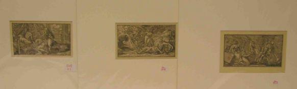 """Fünf Blatt Holzschnitte aus einer deutschen Bibel um 1600: """"Jesus vor Pilatus"""", """""""