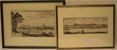 """Zwei Kupferstiche. Dabei: """"Colbergh an der Ostsee"""", Merian 1652, 19 x 32cm. """"Wesel"""".Liander 1760."""