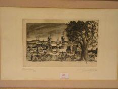 """""""Bamberg - Blick auf den Dom"""". Radierung, unleserlich signiert, 3/100, (19)95, 16 x 23cm,"""