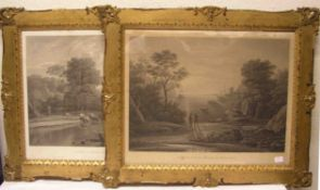 """""""Hafenszene"""" und """"Hirtenszene"""". Zwei Stahlstiche nach Claude Lorrain, 37 x 51cm. Rahmenmit Glas."""