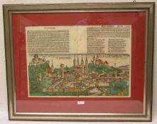 """""""Bamberg"""". Gesamtansicht. Kolorierter Holzschnitt aus der lateinischen Erstausgabe derSchedel'"""