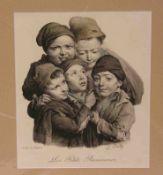 """Boilly, Louis (1761 - 1845): """"Les petits ramoneurs""""(Die kleinen Schornsteinfeger).Farblithografie um"""