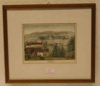 """""""Schloß Tambach bei Coburg"""". Kolorierte Lithografie, Dilger, um 1830. 15 x 20cm. Rahmenmit Glas."""