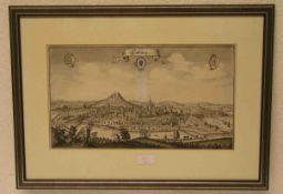 """""""Coburg: Gesamtansicht"""". Kupferstich Matthäus Merian 1648. 21 x 38cm, Rahmen mit Glas.Erworben im"""