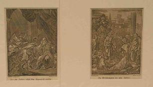 """Kilian, Georg, Christoph (1709 - Augsburg - 1781): """"Hl. Tobias"""" zwei Kupferstiche, 15,5 x11,5cm,"""