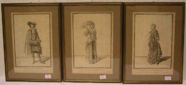"""""""Kleidermode, Frankreich 1678"""", drei Stiche, 27 x 17cm, Rahmen mit Glas."""