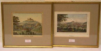 """Coburg"". Zwei kolorierte Federlithografien. Je ca. 15 x 18cm, Rahmen mit Glas."