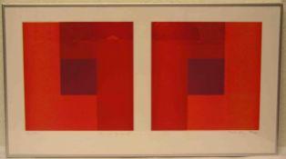 "Peter Lang (geb. 1965 in Holzkirchen): ""Quadratpaar"". Vier Blätter, alle handsigniert,20/37, 2004."