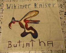 "Kunstobjekt Dokumenta Kassel, 1977 ""Wikinger Kaiser, Butjatha"". Bemalter Stoff, betiteltund"