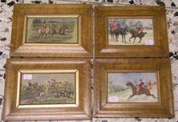 Reiter-Bildnisse. England. Vier kolorierte Federlithos. 11 x 16cm, Rahmen mit Glas.