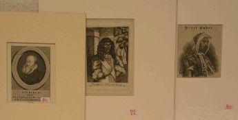 """Posten von fünf Portraits. Dabei: """"Jean im Thurn"""", Chevalier, Kupferstich, 10,5 x 7cm."""