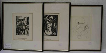 Posten von drei Grafiken. Dabei: Labourem Jean Emilé, Andre Lhote, Holzschnitte undLardera Berto.