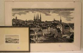 "Herbert Ott, dt. Maler und Grafiker (Kulmbach 1915 - 1987 Rödental): ""Bamberg"".Original-Holzschnitt,"