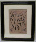 "Man Ray: ""Sans titres"" (Femmes nudites). Gouache, 1914, 44,7 x 32,7cm. Rahmen mit Glas."