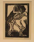 """Rohlfs, Christian (Niendorf 1849 - 1938 Hagen): """"Tod mit dem Sarg"""". Holzschnitt, 1917,"""
