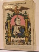 """""""Napoleon I."""". Gloire Nationale. Bilderbogen, kolorierte Holzstiche, acht Blatt. 64 x"""