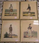 Bergmannstrachten, 4 Blatt, kolorierte Ferderlithos. Dabei: Bergacademist, 25 x 20cm,