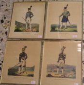 Bergmannstrachten, 4 Blatt kolorierte Federlithos. Dabei: Blaufarbenältester, 25 x 20cm;