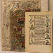 """""""Tercia etas mundi"""". Holzschnitt, 16. Jh. Dazu: vier Kupferstiche, 17./18. Jh., zum Teil"""