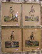 Bergmannstrachten, 4 Blatt kolorierte Federlithos. Dabei: Freiberger Hüttenältester; ein