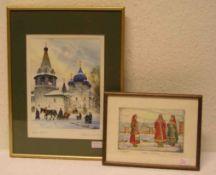 """Russland: zwei Grafiken. Dabei: """"Blick auf den Kreml"""". Beide signiert, 10 x 17cm und 25 x"""