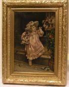 """""""Mädchen mit Hundewelpen"""". Übermalter Druck nach Farnbacher, auf Holz aufgezogegn. 44 x"""