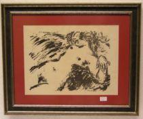 """Vaszary, Janos, ungarischer Maler (1867 - 1939): """"Liegender Akt"""". Lithografie, in der"""