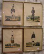 Bergmannstrachten, 4 Blatt kolorierte Federlithos. Dabei: Sächs. Bergmann in Parade; ein