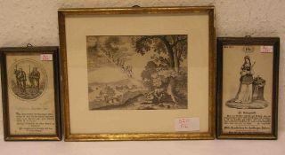 """""""Jakob und die Himmelsleiter"""". Kupferstich, 17. Jh., 11 x 15cm, Rahmen mit Glas. Dazu:"""