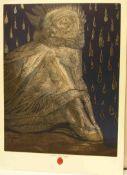 """Fuchs, Ernst: """"Agnus Mystikus"""". Frottage, Lithografie, Folienprägung 1974/75 durch den"""