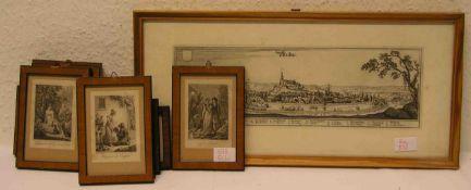 Neun französische Stahlstiche, 19. Jh., ca. 8 x 5cm, Rahmen mit Glas. Dazu: Gesamtansicht