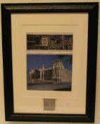 """Christo + J. Claude """"Verhüllter Reichstag"""" 1991. Mit original Gewebestück, 49 x 37cm,"""