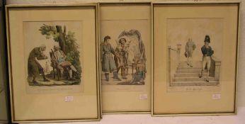 """""""Witzige Darstellungen"""". Vier französische kolorierte Lithografien. 25 x 20cm. Rahmen mit"""