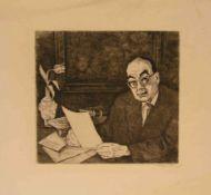 "Felixmüller, Conrad (Dresden 1897 - 1977 Zehlendorf/Berlin): ""Am Schreibtisch""."