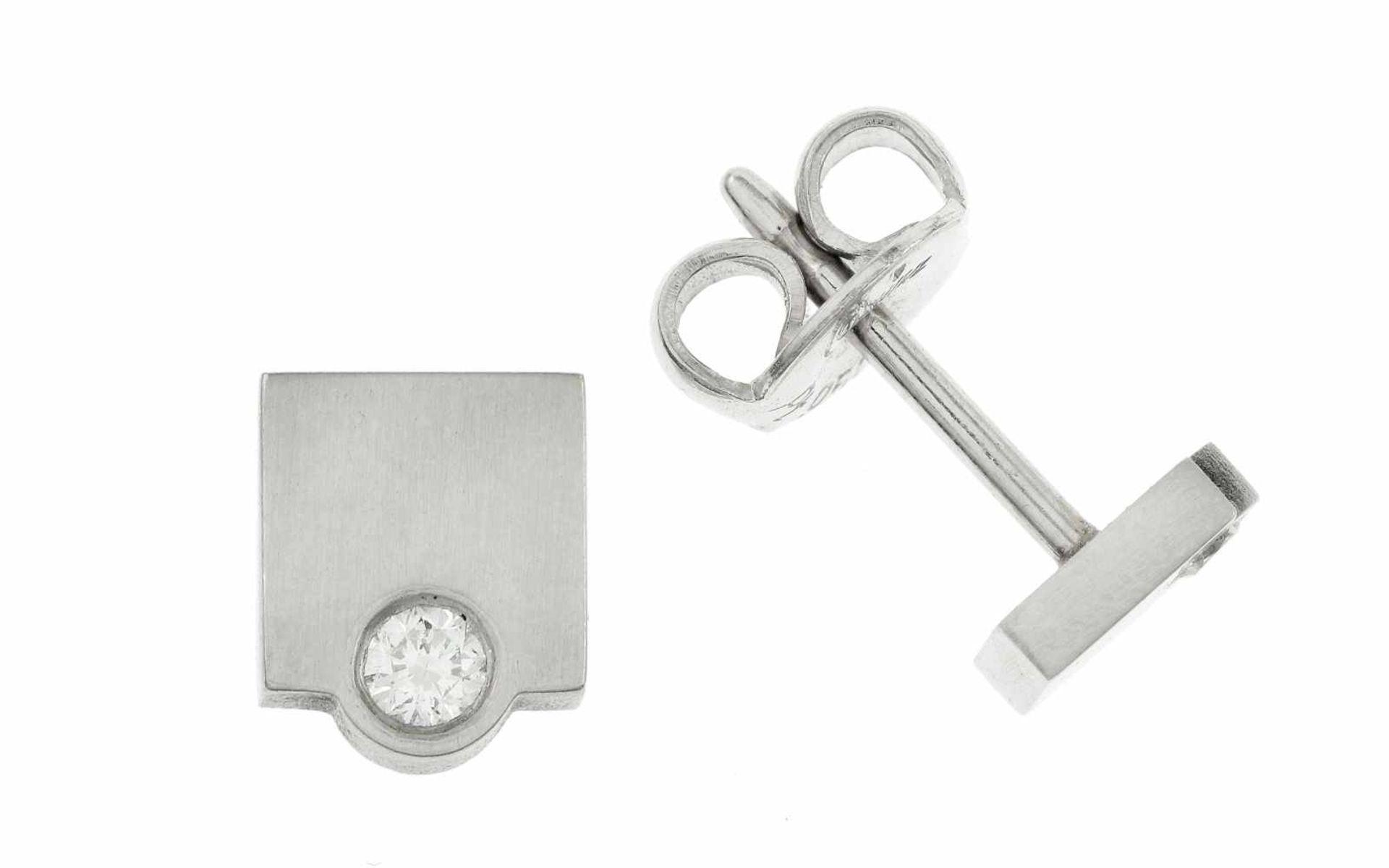 Ohrstecker Ohrstecker 950/- Platin mit 0,05 ct Diamanten Brillantschliff H/si, Länge: 6,00 mm,