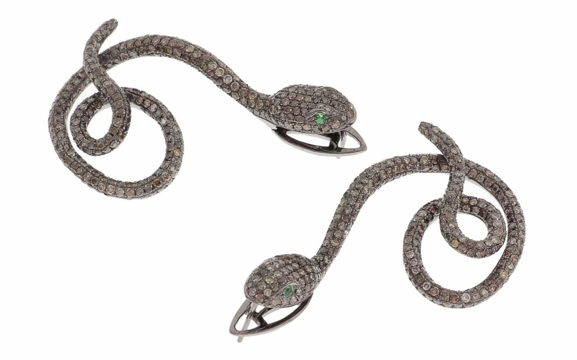 OhrschmuckOhrschmuck Schlange 18K RG mit braunen Diamanten 7,30 ct und Tsavorithen 0,11 ct Omega