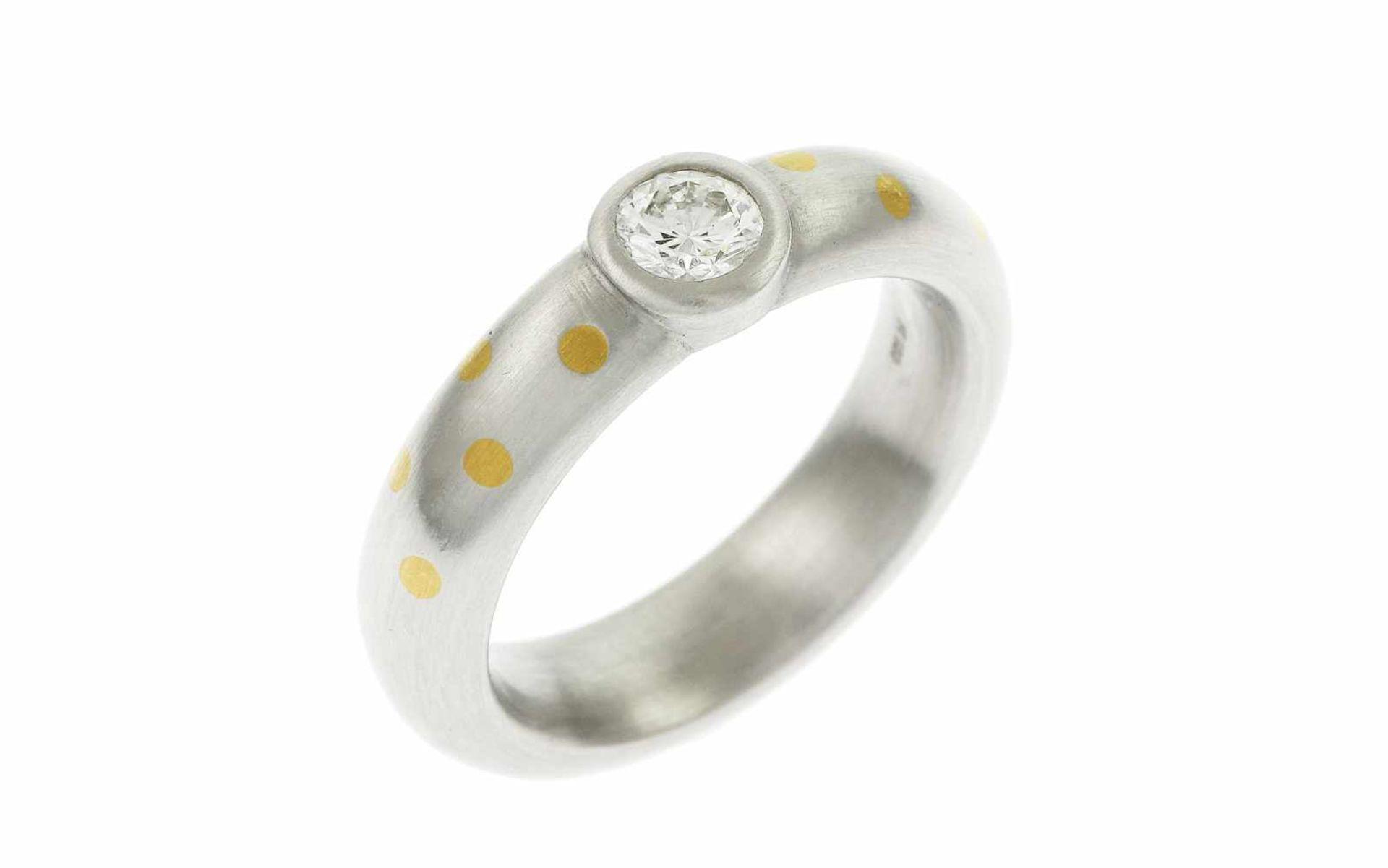 Ring Ring 950/- Platin und 18K GG mit 0,34 ct Diamant Brillantschliff G/vs1, RW: 53, Breite