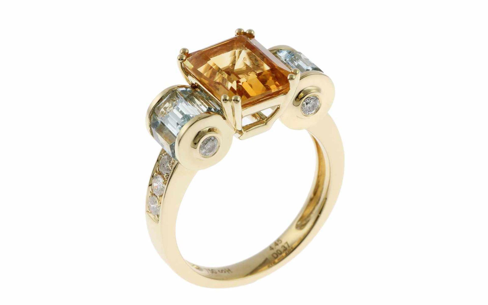 RingRing 18K GG mit 0,37 ct Diamanten H/si , 2,64 ct Citrin und 1,81 ct Aquamarinen RW: 55 Total 6,