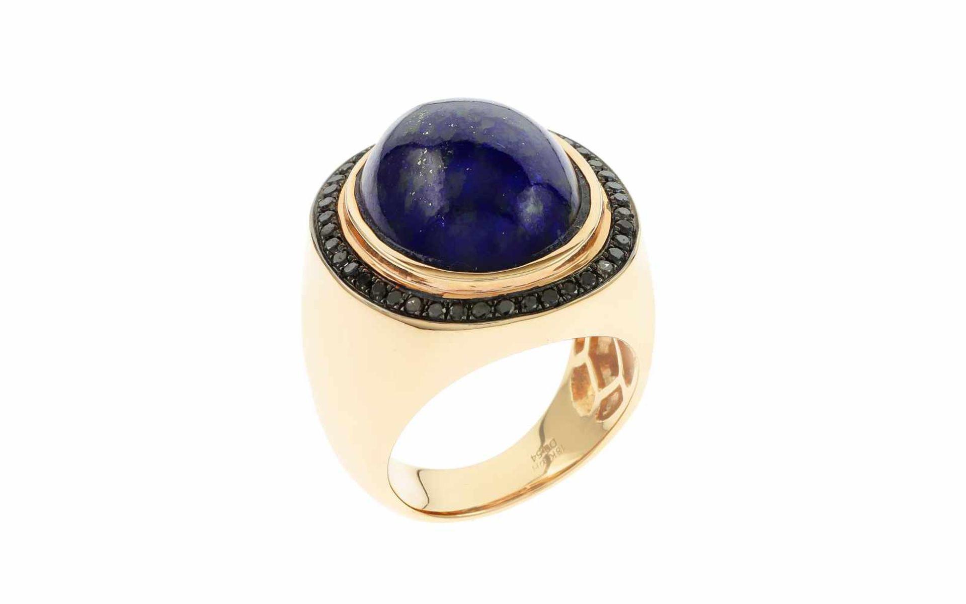 Lapislazuliring Ring 18K RG mit 0,54 ct schwarzen Diamanten und Lapislazuli oval Cabochon 16,15