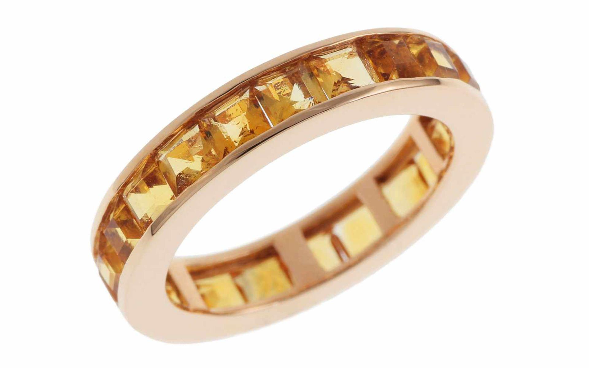 CitrinringMemoire Ring 18K RG mit 3,08 ct Citrinen RW: 54 Total 4,08 gr