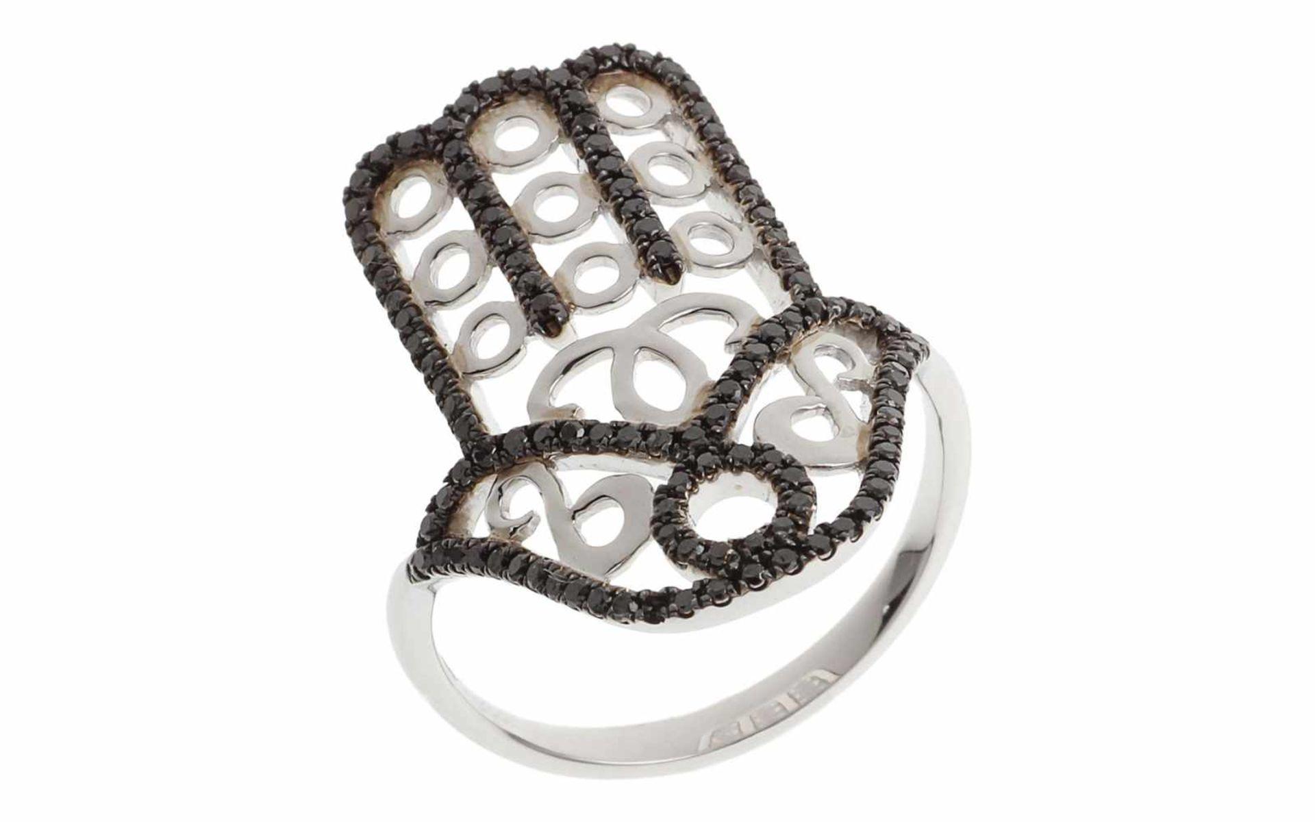Ring Ring Hand der Fatima 18K WG mit 0,50 ct schwarzen Diamanten, RW: 55, Länge Ringkopf: 1,80 cm,