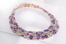 Collier Collier 18K RG mit 1,68 ct Diamanten G/si-pi, Aquamarinen rund, oval, tropfen, facettiert
