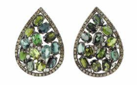 OhrschmuckOhrschmuck 18K WG mit braunen und weissen Diamanten 1,32 ct und Turmalinen 12,92 ct,