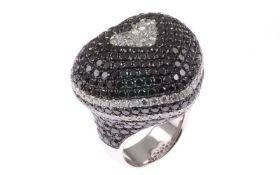 DiamantringRing 18K WG mit 3,45 ct Brillanten G/H si-pi und 11,57 ct schwarzen Diamanten RW: 56