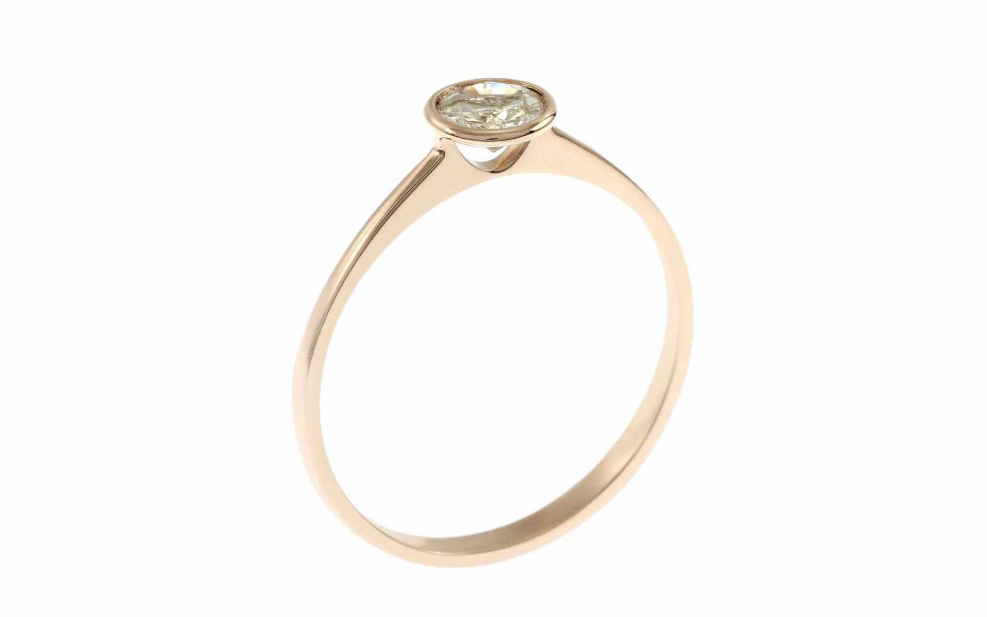 Solitärring Ring 18K RG mit 0,36 ct Diamant G/pi, RW: 55 Total 1,30 gr