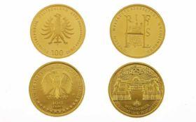 Zwei Münzen2 x 100 Euro Goldmünze 1/2 Unze 999/- Gelbgold, 31,10g